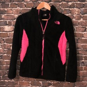 The North Face fuzzy black pink girls large jacket